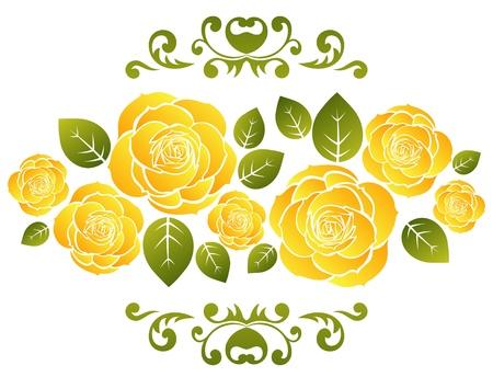 gele rozen: Gestileerde gele rozen patroon op een witte achtergrond.