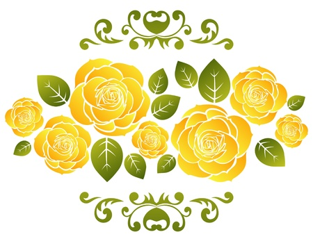 yellow flower: Stylized yellow roses pattern isolated on a white background.