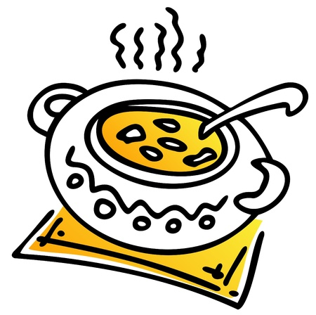 soup spoon: Gestileerde pan met soep die op een witte achtergrond. Stock Illustratie