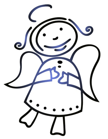 Stylized Christmas angel isolated on a blue background. Stock Vector - 11378174