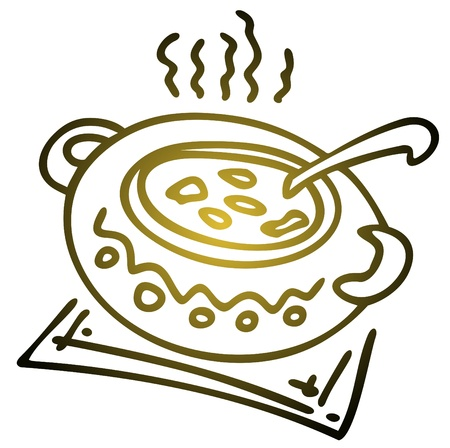 clay pot: Stylized saucepan with soup isolated on a white background.