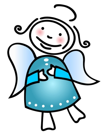 Stylized Christmas angel isolated on a white background. Vector