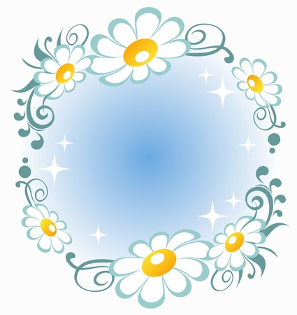 camomile: Stylized  pattern with  flowers and curves on a blue background.