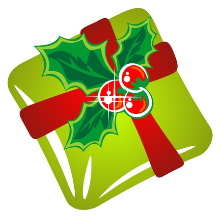 Christmas green gift box  isolated on a white background. Vector