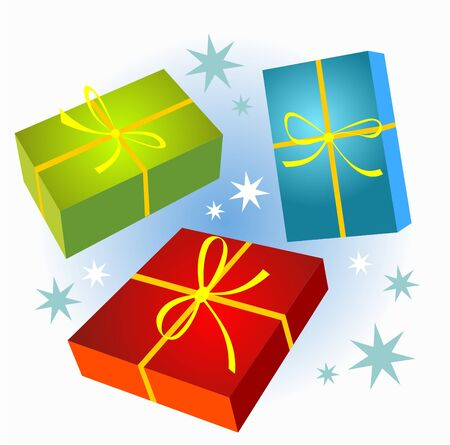 Christmas gift boxes set isolated on a winter background. Vector