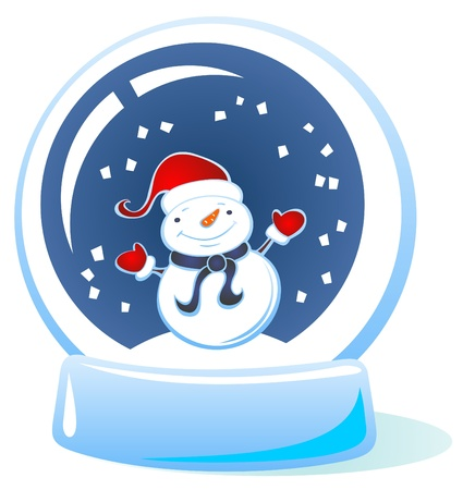 Cartoon snow globe with snowman isolated on a white background. Vector