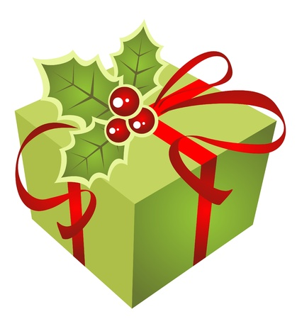 Christmas green gift box  isolated on a white background. Illustration