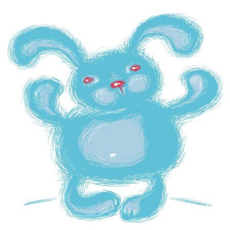 amuse: Stylized blue rabbit isolated  on a white background.