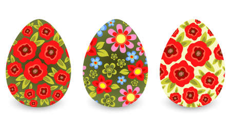 artistic flower: Three stylized Easter eggs  isolated on a white background