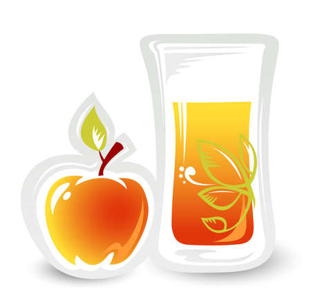 Stylized glass of juice and apple isolated on a white background  Vector