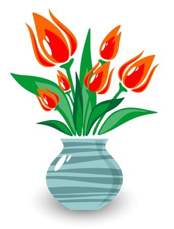 blue tulip: Ornate vase with flowers isolated on a white background  Illustration