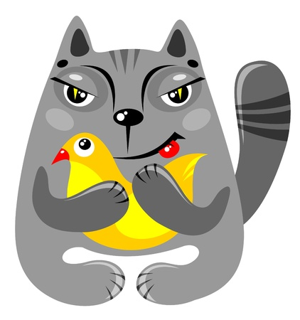 grey cat: Cartoon cat with bird isolated on a white background