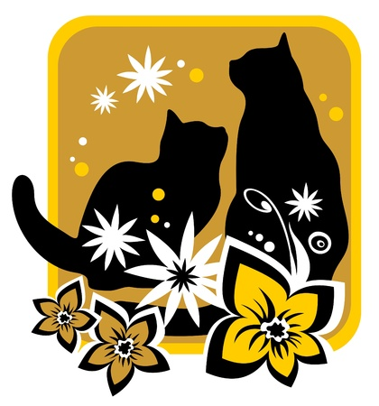 Two cats and flower  silhouettes on a yellow background  Vector