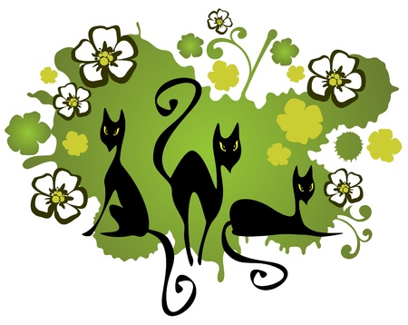 conceptual image: Three cats and flowers on a green background