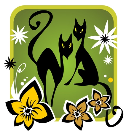 Two cats and flower silhouettes on a green background  Vector