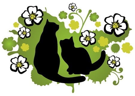 Two cats with flower silhouettes on a green background  Vector