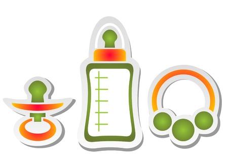 bottle feeding: Los elementos del beb� conjunto aislado sobre un fondo blanco