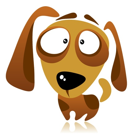 amuse: Cartoon dog isolated on a white background