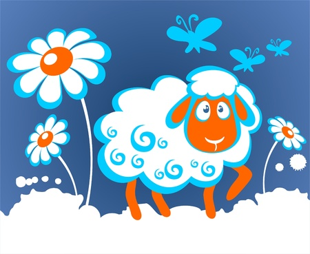 Cartoon sheep with flowers on a white background  Vector