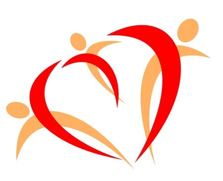 Symbole de la famille heureuse isolé sur un fond blanc Vecteurs
