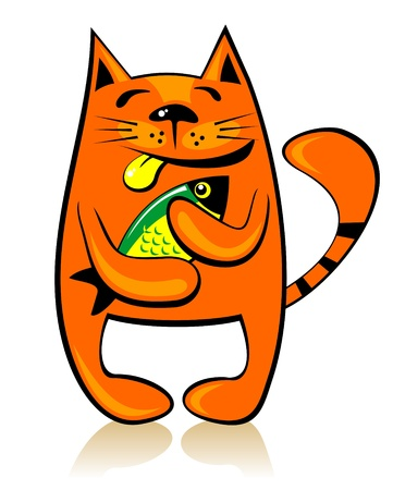 Happy cartoon cat with fish on a white background  Vector