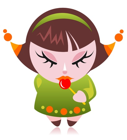Cartoon girl with candy isolated on a white background  Vector