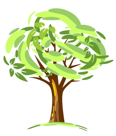Stylized green tree isolated on a white background Stock Vector - 14190123