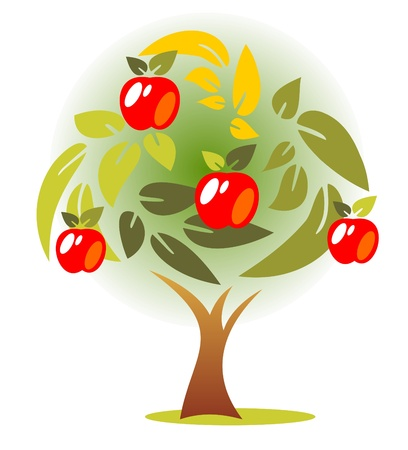 Stylized autumn apple tree on a  green background  Vector
