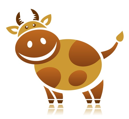 cow silhouette: Cartoon cow isolated on a white background