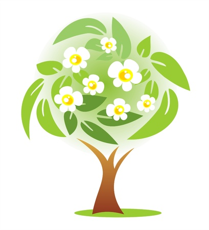 APPLE trees: Stylized spring apple tree on a  green background