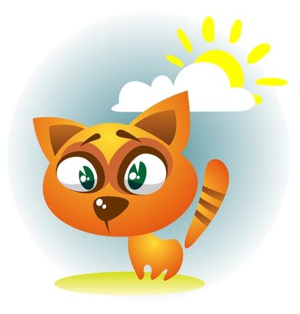 gato caricatura: Cartoon gato sobre un fondo de cielo oscuro