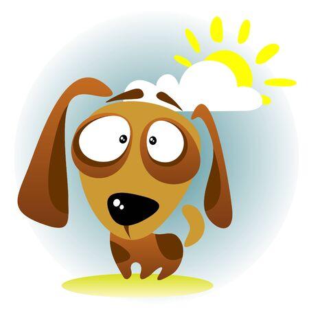 perro caricatura: Cartoon perro en un fondo de cielo oscuro