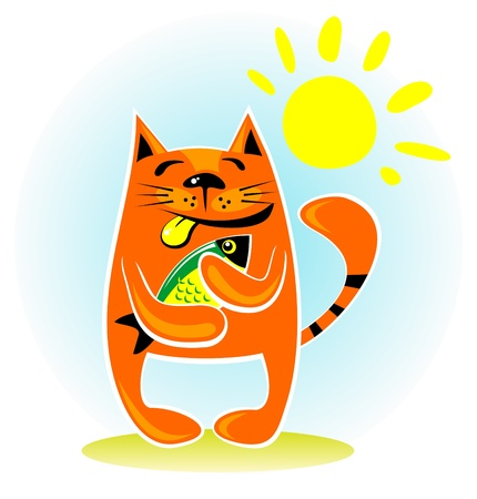 Happy cat with fish on a blue sky background  Vector