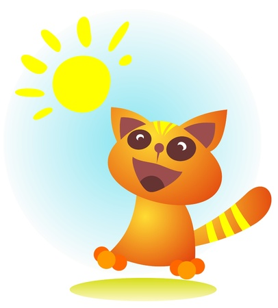 happy cat: Cartoon gl�ckliche Katze auf einem blauen Himmel Hintergrund