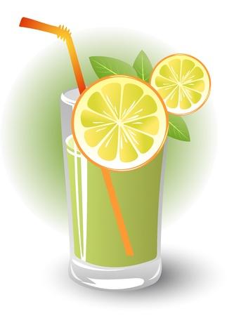 lemon slices: Stilizzata fette di limone con menta e limone bere Vettoriali