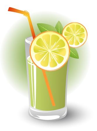 mint leaves: Stylized lemon slices with mint and lemon drink