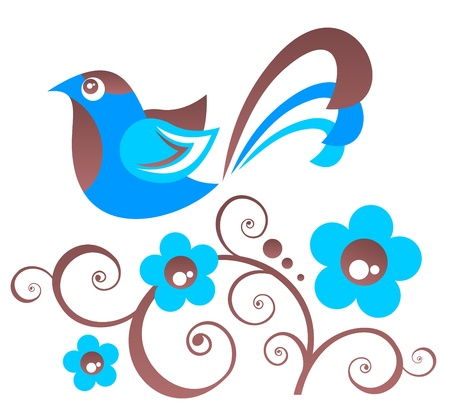 blue bird: Stylized floral pattern with bird  on a white background