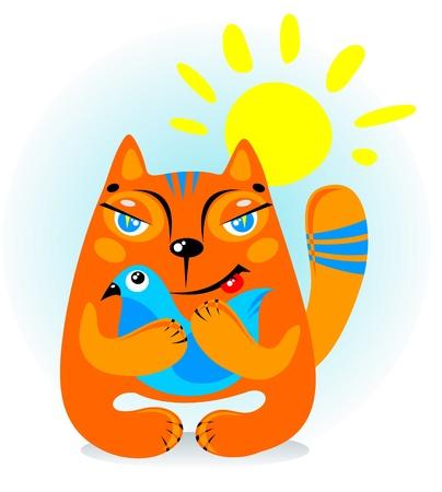 orange cat: Cartoon cat with bird isolated on a white background