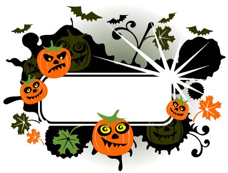 Halloween bats and pumpkins on a dark background  Vector