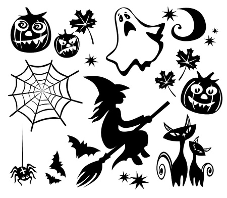 witch silhouette: Halloween symbols set isolated on a white background  Illustration