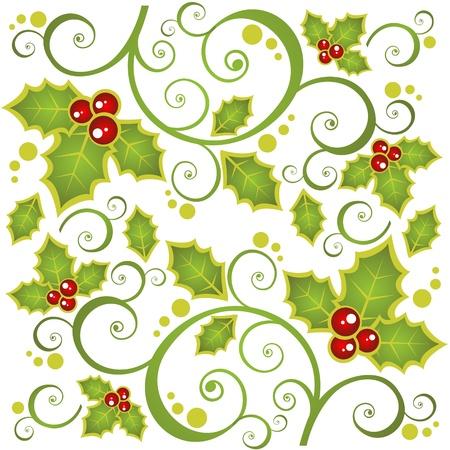 クリスマスの背景にカーブ、ホリー ベリー。