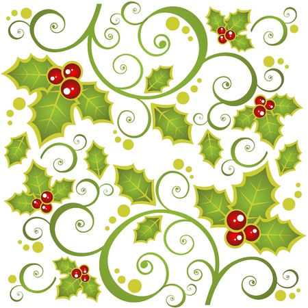 holly leaves: Christmas  background with curves and Holly Berry .