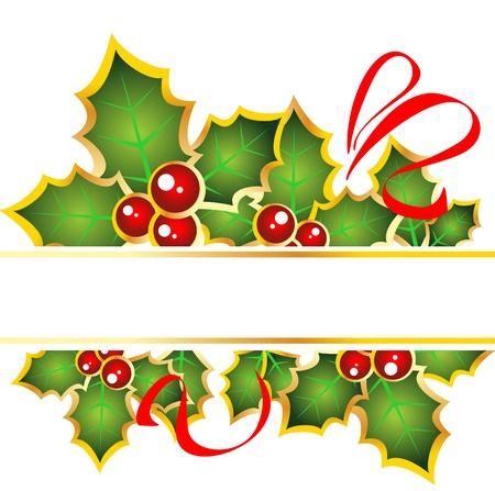 赤い曲線とホーリーベリー クリスマス フレーム。