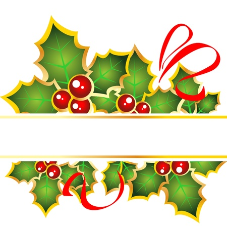 Christmas frame with red curves and Holly Berry .