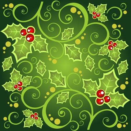 Christmas  background with curves and Holly Berry .