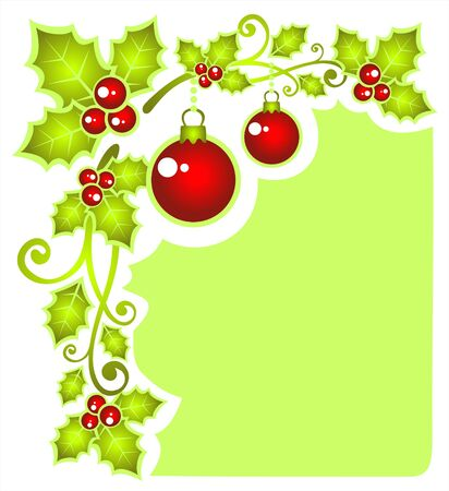 Stylized pattern with Christmas balls and Holly Berry . Illustration