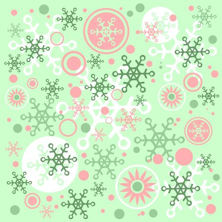 Winter pattern with snowflakes on a green background Stock Vector - 15937961