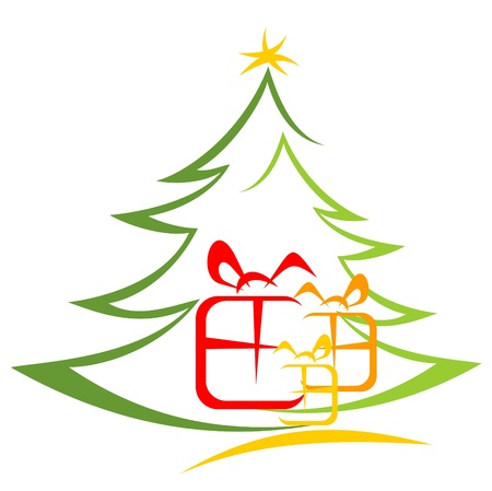 Albero di Natale e confezioni regalo isolato su uno sfondo bianco