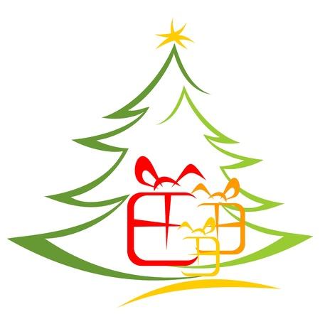 arboles de caricatura: �rbol de Navidad y cajas de regalo aisladas sobre fondo blanco Vectores