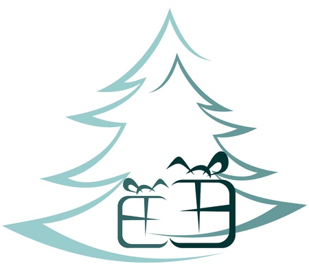 Christmas tree and gift boxes on a white background Stock Vector - 16122312